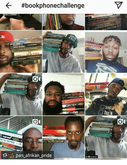 Memes, Horse, and Afrikaner: < #bookphonechallenge  FROM THE BROWDER  SURVIVAL STRATEG  im Crow  PALE HORSE  THE GURU PAPERS  ロ  pan-afrikan-pride