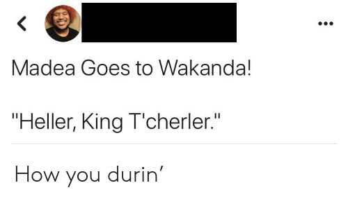"Blackpeopletwitter, Funny, and How: <  Madea Goes to Wakanda!  ""Heller, King T'cherler."" How you durin'"