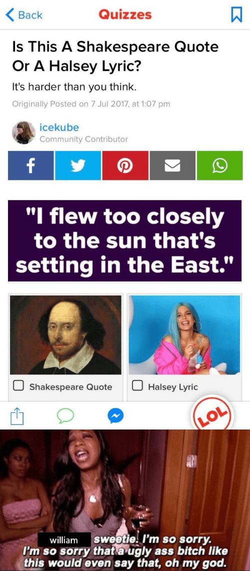 "Community, God, and Oh My God: <Back  Quizzes  Is This A Shakespeare Quote  Or A Halsey Lyric?  It's harder than you think.  Originally Posted on 7 Jul 2017, at 1:07 pm  icekube  Community Contributor  ""l flew too closely  to the sun that's  setting in the East.""  Shakespeare QuoteHalsey Lyric   william sweetie I'm so sorry.  I'm so sorry thata ugly ass bitch like  this would even say that, oh my god."