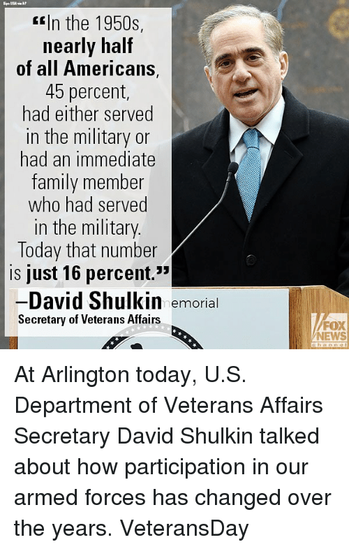 """Family, Memes, and News: <In the 1950s,  nearly half  of all Americans,  45 percent,  had either served  in the military or  had an immediate  family member  who had served  in the military  Today that number  is just 16 percent.""""  David Shulkin  Secretary of Veterans Affairs  52  emorial  FOX  NEWS At Arlington today, U.S. Department of Veterans Affairs Secretary David Shulkin talked about how participation in our armed forces has changed over the years. VeteransDay"""