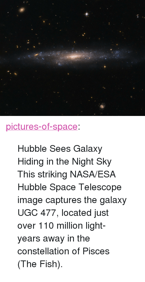 "Andrew Bogut, Nasa, and Tumblr: <p><a href=""http://pictures-of-space.tumblr.com/post/149676392872/hubble-sees-galaxy-hiding-in-the-night-sky-this"" class=""tumblr_blog"">pictures-of-space</a>:</p>  <blockquote><p>  Hubble Sees Galaxy Hiding in the Night Sky</p><p>This striking NASA/ESA Hubble Space Telescope image captures the galaxy UGC 477, located just over 110 million light-years away in the constellation of Pisces (The Fish).</p></blockquote>"