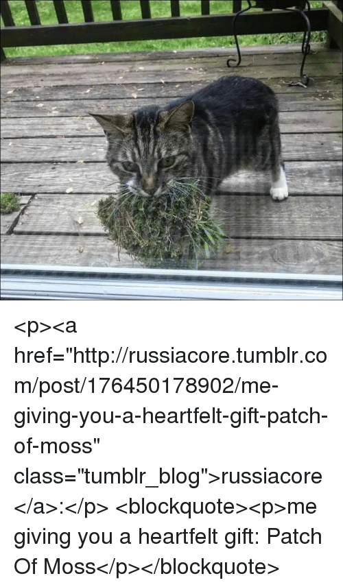 "Tumblr, Blog, and Http: <p><a href=""http://russiacore.tumblr.com/post/176450178902/me-giving-you-a-heartfelt-gift-patch-of-moss"" class=""tumblr_blog"">russiacore</a>:</p> <blockquote><p>me giving you a heartfelt gift: Patch Of Moss</p></blockquote>"