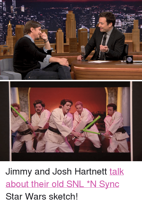 """Snl, Star Wars, and Target: <p>Jimmy and Josh Hartnett <a href=""""http://www.nbc.com/the-tonight-show/segments/6366"""" target=""""_blank"""">talk about their old SNL *N Sync</a> Star Wars sketch!</p>"""