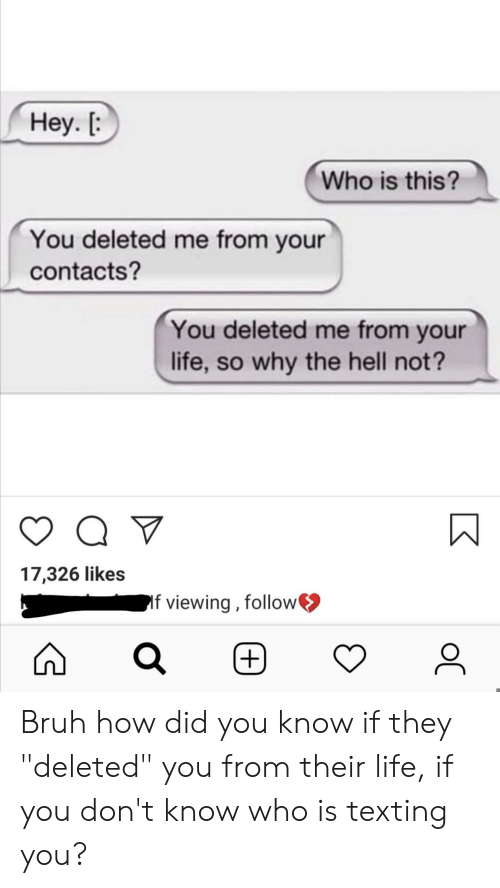 "Bruh, Life, and Texting: Неу. [:  Who is this?  You deleted me from your  contacts?  You deleted me from your  life, so why the hell not?  17,326 likes  If viewing, follow  (+)  ос Bruh how did you know if they ""deleted"" you from their life, if you don't know who is texting you?"