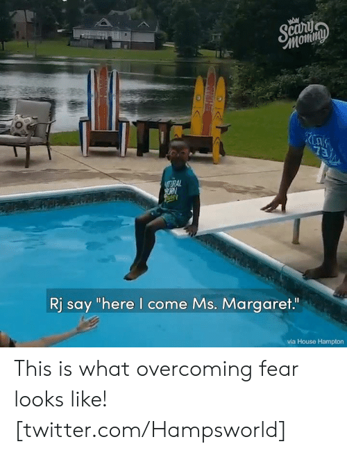"""Dank, Twitter, and House: Этотту  73  TRAL  ORN  Rj say """"here I come Ms. Margaret.""""  via House Hampton  IWHE This is what overcoming fear looks like! [twitter.com/Hampsworld]"""