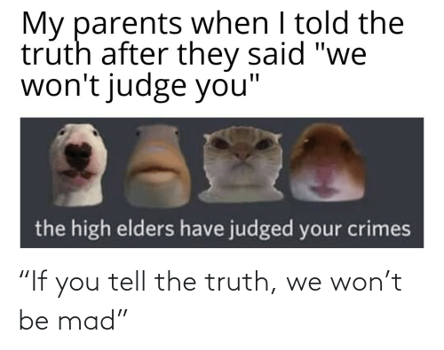 """Mad, Truth, and You: """"If you tell the truth, we won't be mad"""""""