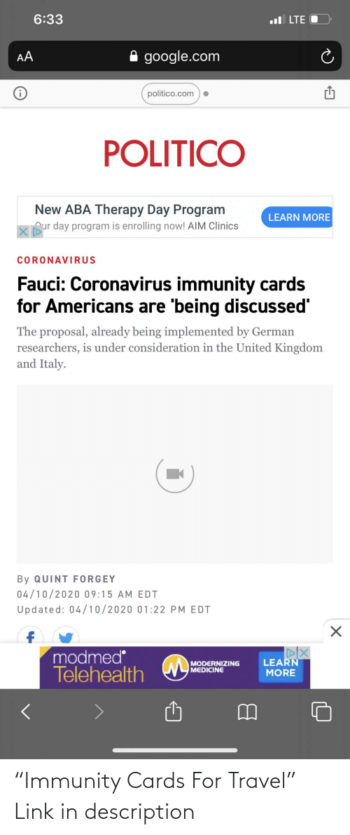 """Link, Travel, and Libertarian: """"Immunity Cards For Travel"""" Link in description"""