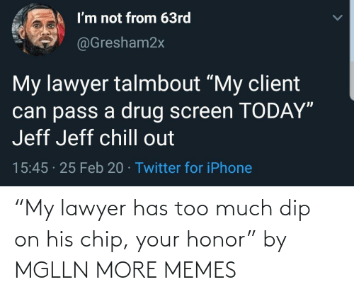 """Dank, Lawyer, and Memes: """"My lawyer has too much dip on his chip, your honor"""" by MGLLN MORE MEMES"""