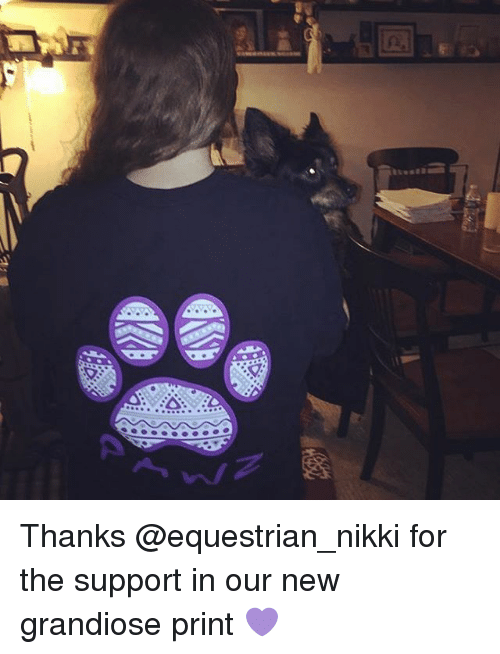 Memes, 🤖, and Nikki: な  … Thanks @equestrian_nikki for the support in our new grandiose print 💜