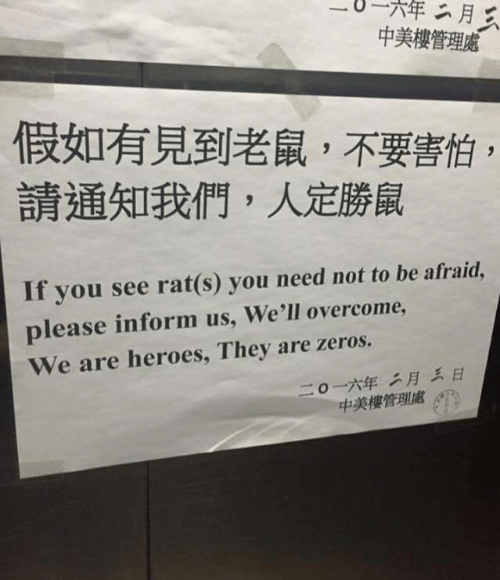 Heroes, Rat, and They: 一〇一一六年  中美樓管理'  假如有見到老鼠,不要害怕  請通知我們,人定勝鼠  If you see rat(s) you need not to be afraid,  please inform us, We'll overcome  We are heroes, They are zeros.  二〇一六年二月三日  中美樓管理處