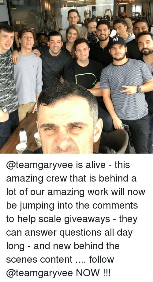 Alive, Memes, and Help: 乞  G, @teamgaryvee is alive - this amazing crew that is behind a lot of our amazing work will now be jumping into the comments to help scale giveaways - they can answer questions all day long - and new behind the scenes content .... follow @teamgaryvee NOW !!!