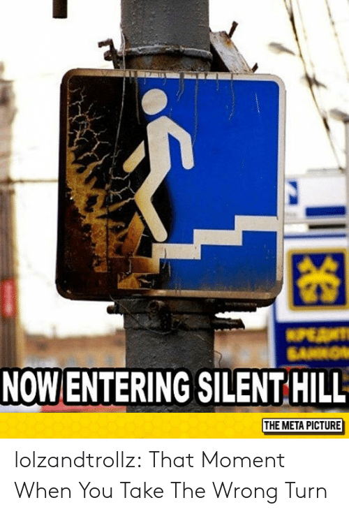 Tumblr, Blog, and Silent Hill: 困  NOW ENTERING SILENT HILL  THE META PICTURE lolzandtrollz:  That Moment When You Take The Wrong Turn