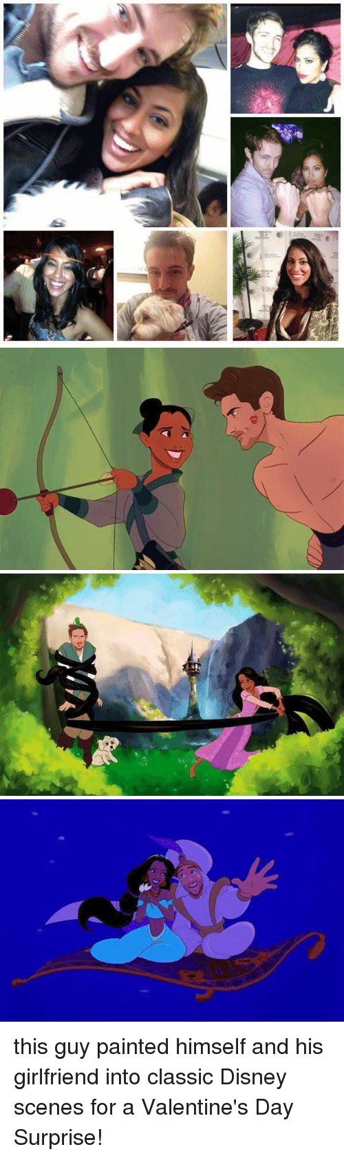 Paintings, Girl Memes, and Classics: 自一 ーーーー   €3 this guy painted himself and his girlfriend into classic Disney scenes for a Valentine's Day Surprise!