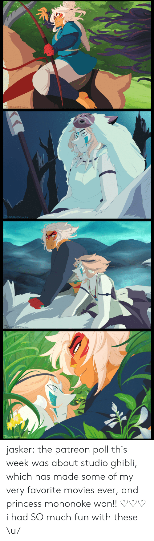Movies, Tumblr, and Blog: 豸  JASKERART Ctwitter   SXERARTtwieR   JAS  ERART CtwiteR jasker:  the patreon poll this week was about studio ghibli, which has made some of my very favorite movies ever, and princess mononoke won!! ♡♡♡ i had SO much fun with these \u/