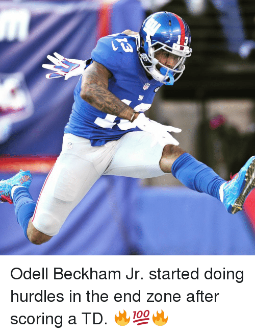 Odell Beckham Jr., Sports, and Odell Beckham: 깽 Odell Beckham Jr. started doing hurdles in the end zone after scoring a TD. 🔥💯🔥