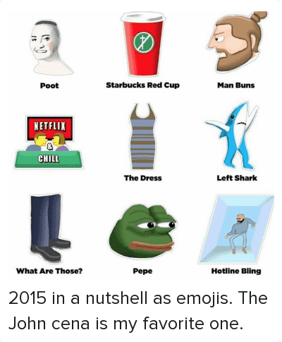 2015 in a nutshell as emojis. The John cena is my favorite one.: Poot Starbucks Red Cup Man Buns  Netflix & Chill The Dress Left Shark  What Are Those? Pepe Hotline Bling 2015 in a nutshell as emojis. The John cena is my favorite one.