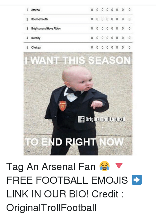 Arsenal, Chelsea, and Football: 0 0 0 0 0 0 0 0  Arsenal  2 Bournemouth  0 0 0 0 0 0 0 0  3 Brighton and HoveAlbion  0 0 0 0 0 0 0 0  4 Burnley  0 0 0 0 0 0  5 Chelsea  0 0 0 0 0 0 0 0  WANT THIS SEASON  ginaITrollootball  TO END RIGHT NOW Tag An Arsenal Fan 😂 🔻FREE FOOTBALL EMOJIS ➡️ LINK IN OUR BIO! Credit : OriginalTrollFootball