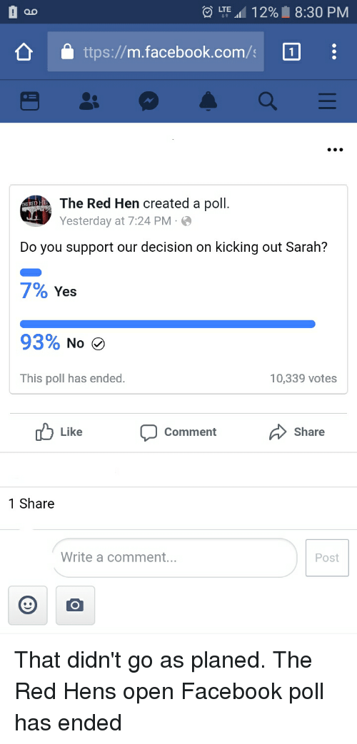 00 Lte 111 29 830 Pm Ttpsmfacebookcoms The Red Hen Created A Poll