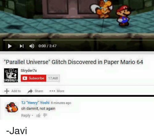 000 1347 Parallel Universe Glitch Discovered In Paper Mario 64