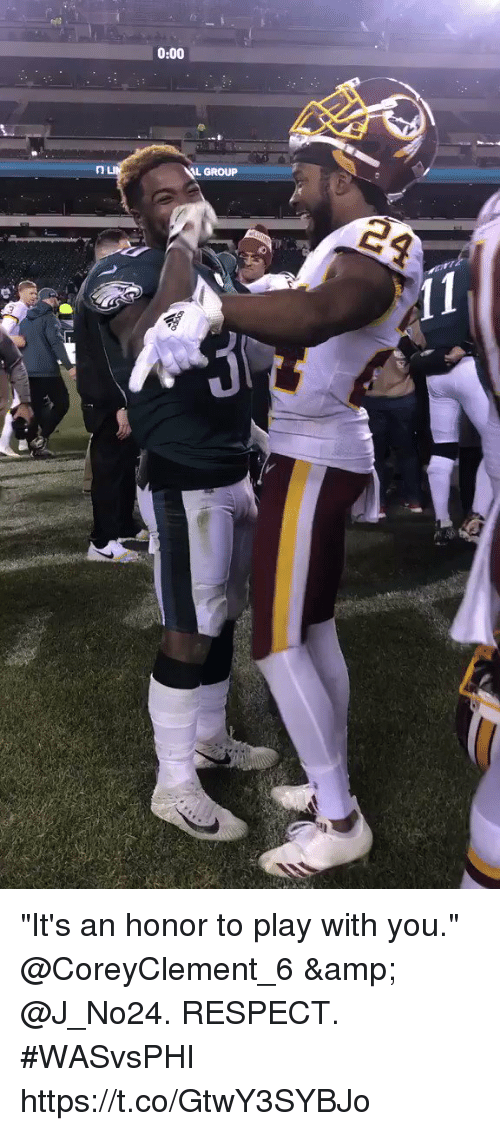 "Memes, Respect, and 🤖: 0:00  L GROUP ""It's an honor to play with you.""  @CoreyClement_6 & @J_No24. RESPECT. #WASvsPHI https://t.co/GtwY3SYBJo"