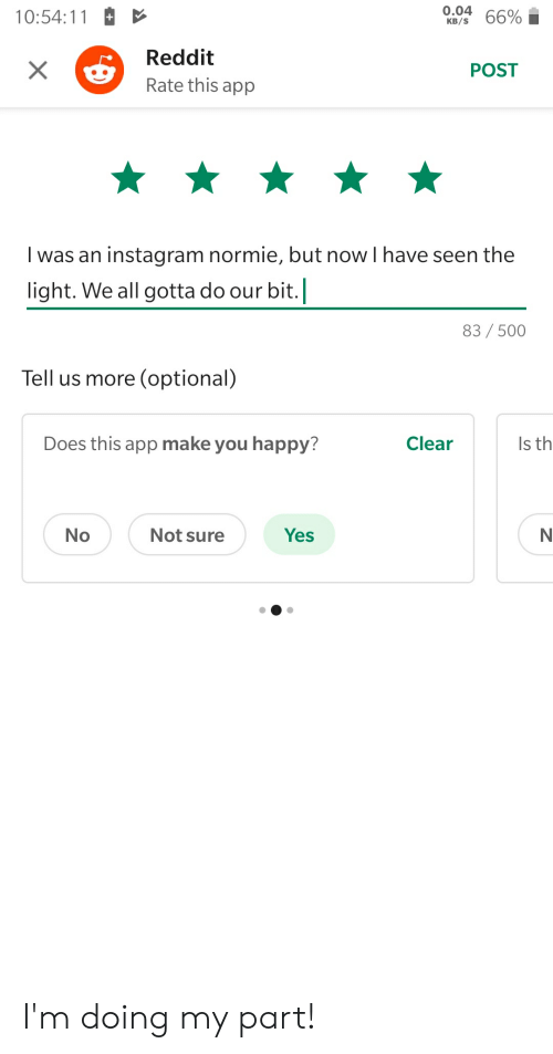 004 105411+ 66% 66% I Reddit XRate This App POST I Was an
