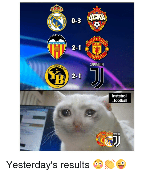 Football, Memes, and 🤖: 0-3 VICKİ.  CHES  VALENCIA C.F  2-1  UNITE  UDENTUS  YOUNG  Sc You  2-1  1898  instatroll  football  CHE  JUUENTUS  NIT Yesterday's results 😳👏😜