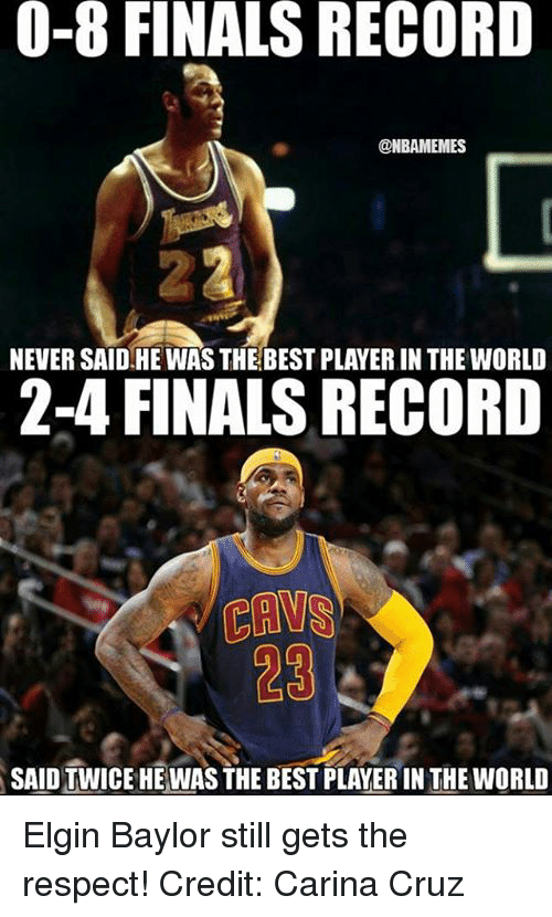 e2096c55823 Nba, Player, and The World: 0-8 FINALS RECORD @NBAMEMES NEVER. Elgin Baylor  ...