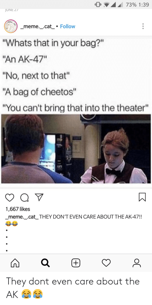 "Cheetos, Meme, and Ak-47: 0 .A.I 73% 1:39  JUNE 27  meme._cat Follow  ""Whats that in your bag?""  An AK-47""  ""No, next to that""  ""A bag of cheetos""  ""You can't bring that into the theater""  1,667 likes  _meme._.cat_ THEY DON'T EVEN CARE ABOUT THE AK-47!! They dont even care about the AK 😂😂"