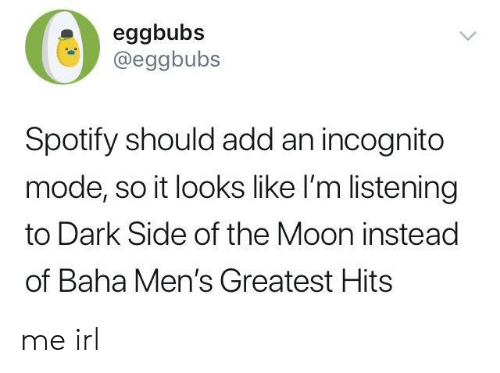 Dark Side of the Moon, Spotify, and Incognito: 0:  eggbubs  @eggbubs  Spotify should add an incognito  mode, so it looks like I'm listening  to Dark Side of the Moon instead  of Baha Men's Greatest Hits me irl
