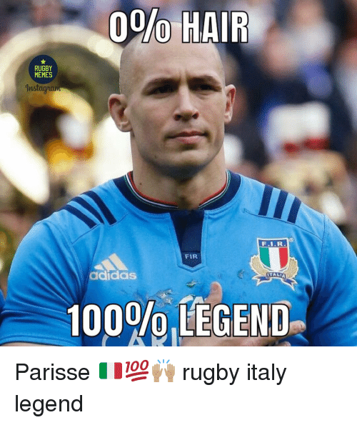 Adidas, Anaconda, and Memes: 0%% HAIR  RUGBY  MEMES  Instay  FIR  adidas  ITALI  100%,LEGEND Parisse 🇮🇹💯🙌🏽 rugby italy legend