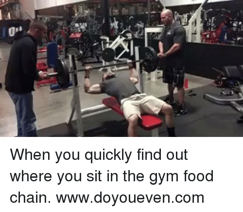 "Chain, Food Chains, and Find: 0""  it When you quickly find out where you sit in the gym food chain.  www.doyoueven.com"