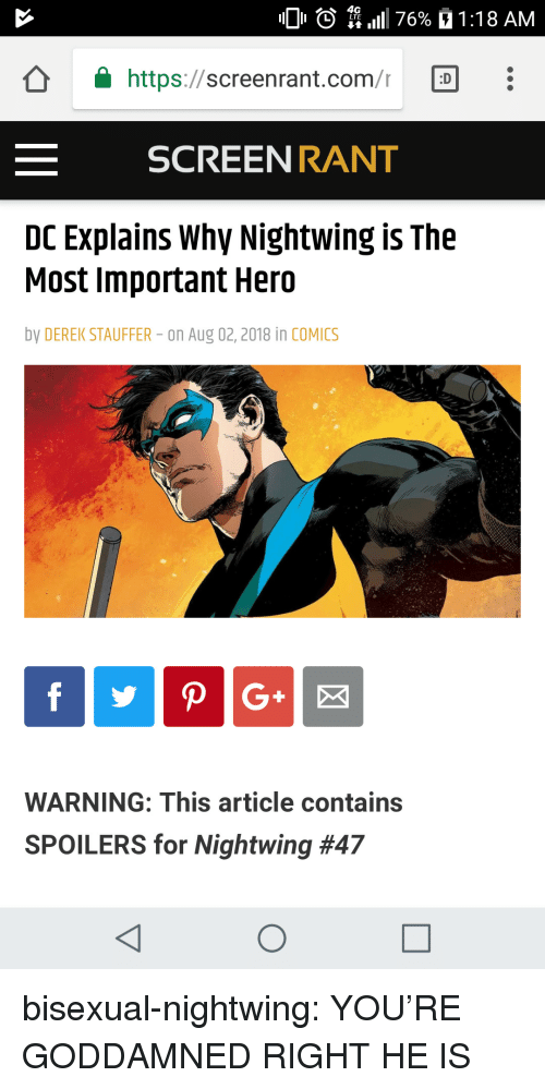 Target, Tumblr, and Blog: 0 O  4G  L LTE  11 1 76%  1 : 1 8 AM  â  https://screen rant.com/r  「D  SCREEN RANT  DC Explains Why Nightwing is The  Most Important Hero  by DEREK STAUFFER- on Aug 02,2018 in COMICS  WARNING: This article contains  SPOILERS for Nightwing bisexual-nightwing:  YOU'RE GODDAMNED RIGHT HE IS