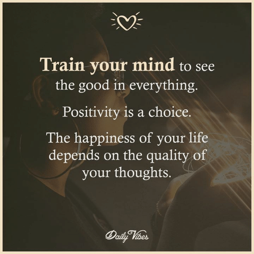 Life, Memes, and Good: 0%  Train vour mind to see  the good in everything.  Positivity is a choice.  The happiness of your life  depends on the quality of  your thoughts.