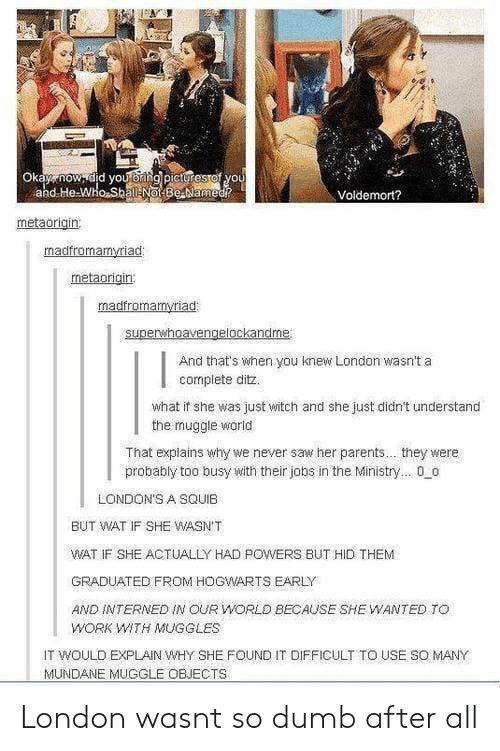 Dumb, Parents, and Saw: 0  Voldemort?  metaorigin  madfromamyriad  metaorigin:  And that's when you knew London wasn't a  complete ditz.  what if she was just witch and she just didn't understand  the muggle world  That explains why we never saw her parents... they were  probably too busy with their jobs in the Ministry... 00  LONDON'S A SQUIB  BUT WAT IF SHE WASN'T  WAT IF SHE ACTUALLY HAD POWERS BUT HID THEM  GRADUATED FROM HOGWARTS EARLY  AND İNTERNED IN OUR WORLD BECAUSE SHE WANTED TO  WORK WITH MUGGLES  IT WOULD EXPLAIN WHY SHE FOUND IT DIFFICULT TO USE SO MANY  MUNDAE MUGGLE OBJECTS London wasnt so dumb after all