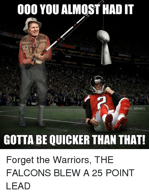 Nfl, Lead, and You Almost Had It: 000 YOU ALMOST HAD IT  NFL MEMES  GOTTA BE QUICKER THAN THAT! Forget the Warriors, THE FALCONS BLEW A 25 POINT LEAD