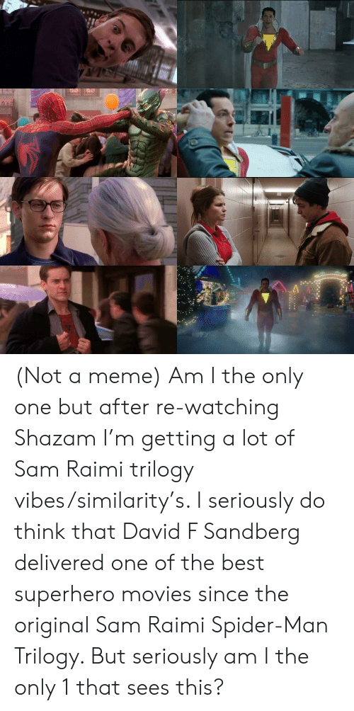 Meme, Movies, and Shazam: 0000 O0000 (Not a meme) Am I the only one but after re-watching Shazam I'm getting a lot of Sam Raimi trilogy vibes/similarity's. I seriously do think that David F Sandberg delivered one of the best superhero movies since the original Sam Raimi Spider-Man Trilogy. But seriously am I the only 1 that sees this?
