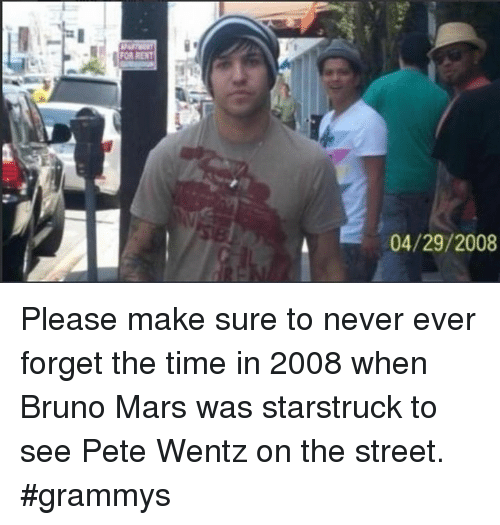 Bruno Mars, Grammys, and Memes: 04/29/2008 Please make sure to never ever forget the time in 2008 when Bruno Mars was starstruck to see Pete Wentz on the street. #grammys