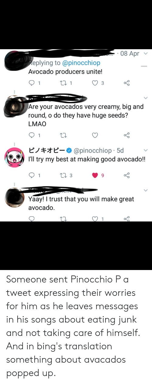 Lmao, Avocado, and Best: 08 Apr  eplying to @pinocchiop  Avocado producers unite!  Are your avocados very creamy, big and  round, o do they have huge seeds?  LMAO  ピノキオピー. @pinocchiop-5d  I'll try my best at making good avocado!  Yaay trust that you will make great  avocado. Someone sent Pinocchio P a tweet expressing their worries for him as he leaves messages in his songs about eating junk and not taking care of himself. And in bing's translation something about avacados popped up.