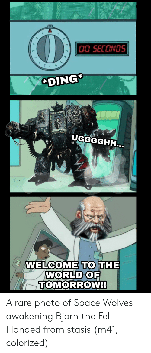 Space, Tomorrow, and World: 0O SECONDS  DING  UGGGGHH...  WELCOME TO THE  WORLD OF  TOMORROW!! A rare photo of Space Wolves awakening Bjorn the Fell Handed from stasis (m41, colorized)