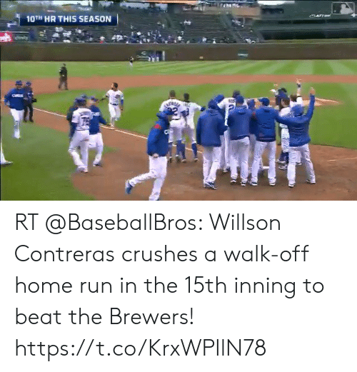 me.me: 0TH HR THIS SEASON RT @BaseballBros: Willson Contreras crushes a walk-off home run in the 15th inning to beat the Brewers! https://t.co/KrxWPIlN78