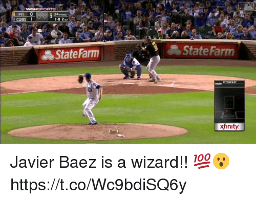 Memes, State Farm, and Xfinity: 1-0 2  State Farm  State Farm  xfinity Javier Baez is a wizard!! 💯😮 https://t.co/Wc9bdiSQ6y