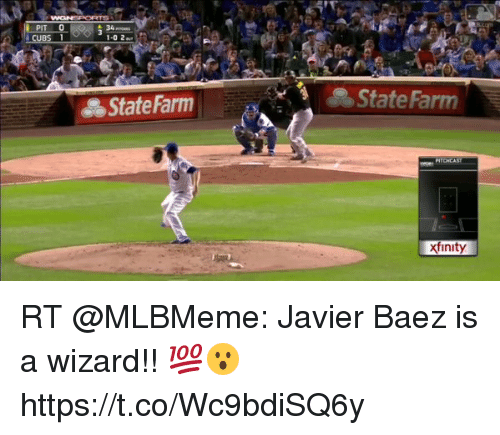 Memes, State Farm, and Xfinity: 1-0 2  State Farm  State Farm  xfinity RT @MLBMeme: Javier Baez is a wizard!! 💯😮 https://t.co/Wc9bdiSQ6y