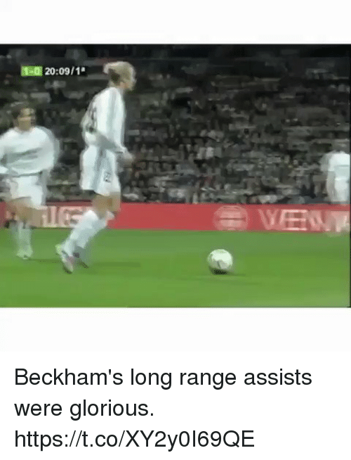 Soccer, Glorious, and Range: 1-0 20:09/1  VEN Beckham's long range assists were glorious. https://t.co/XY2y0I69QE