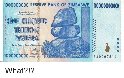 Bank Zimbabwe And One 1 000000000000o Reserve Of 10000000000000 Hundred