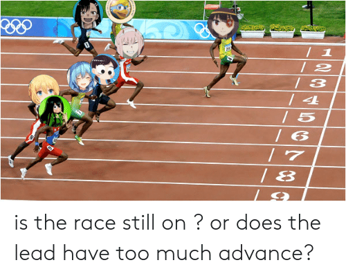 Anime, Too Much, and Race: 1  /2  / 3  / 4  / 5  / 6  7  /8 is the race still on ? or does the lead have too much advance?