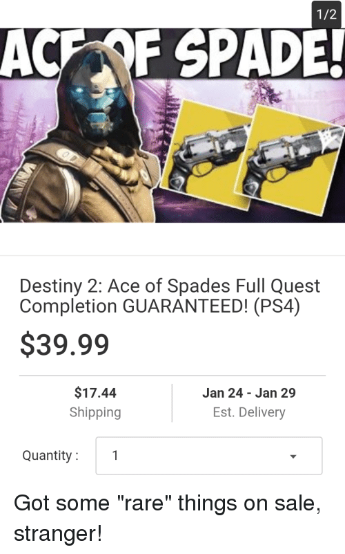 12 ACF SPADE Destiny 2 Ace of Spades Full Quest Completion