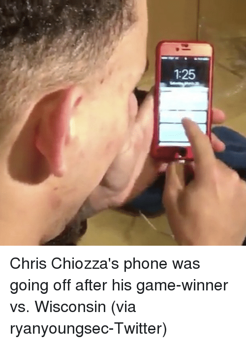 Sports, Winner, and Winners: 1:25 Chris Chiozza's phone was going off after his game-winner vs. Wisconsin (via ryanyoungsec-Twitter)