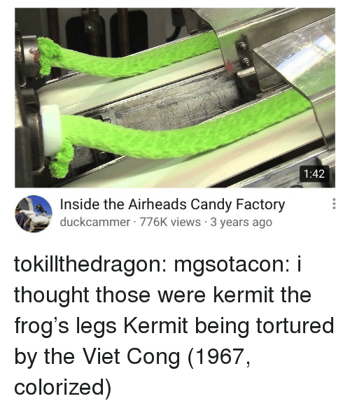 Candy, Kermit the Frog, and Target: 1:42  Inside the Airheads Candy Factory  duckcammer 776K views 3 years ago tokillthedragon:  mgsotacon: i thought those were kermit the frog's legs  Kermit being tortured by the Viet Cong (1967, colorized)