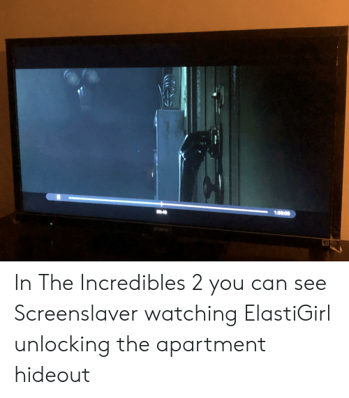 The Incredibles, Incredibles 2, and The Apartment: 1:80:00  60:40 In The Incredibles 2 you can see Screenslaver watching ElastiGirl unlocking the apartment hideout