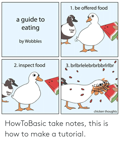 Food, Chicken, and How To: 1. be offered food  a guide to  eating  by Wobbles  3. brlbrlelebrbrbbrlrlbr  2. inspect food  chicken thoughts  33 HowToBasic take notes, this is how to make a tutorial.